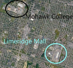 Map of the location of Limeridge Mall